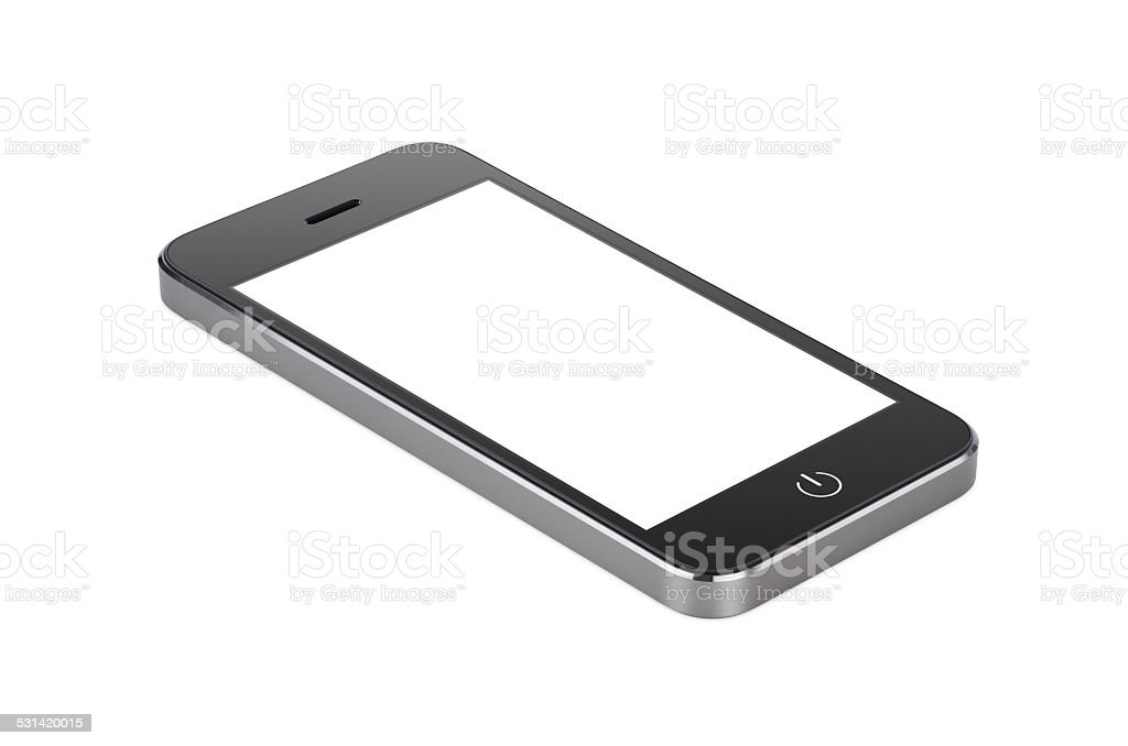 Black modern smartphone with blank screen lies on the surface stock photo