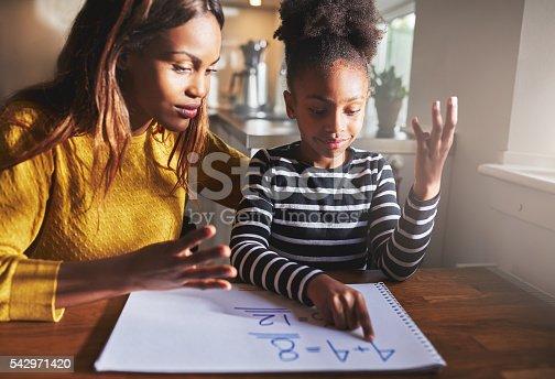 istock Black mom and child doing homework 542971420