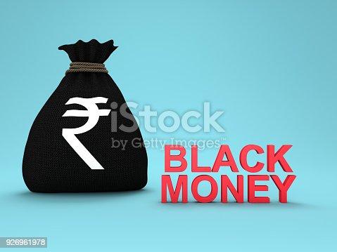 istock Black Money Concept - 3D Rendered Image 926961978