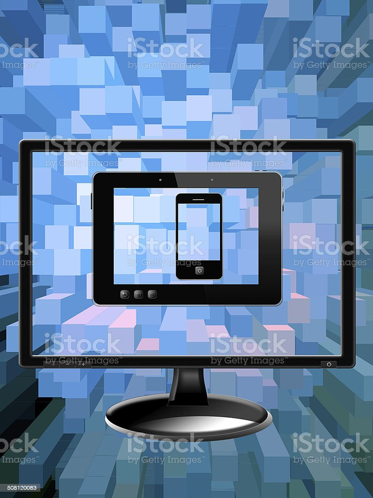 black monitor tablet and modern mobile phone stock photo