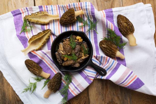Black morel mushrooms in skillet stock photo