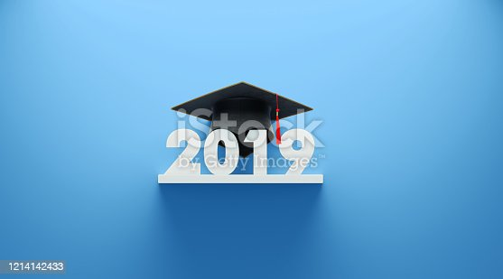 istock Black Mortarboard and 2019 on Blue Background 1214142433