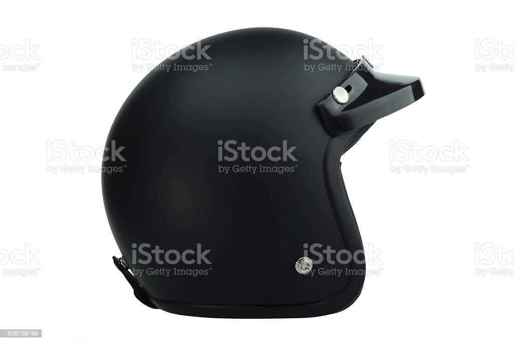 Black motorbike classic helmet stock photo