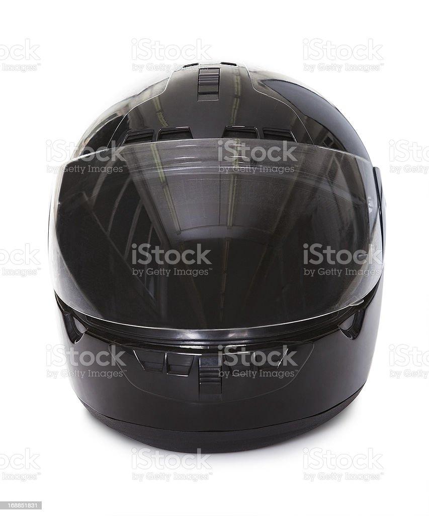 Black motorcycle helmet stock photo
