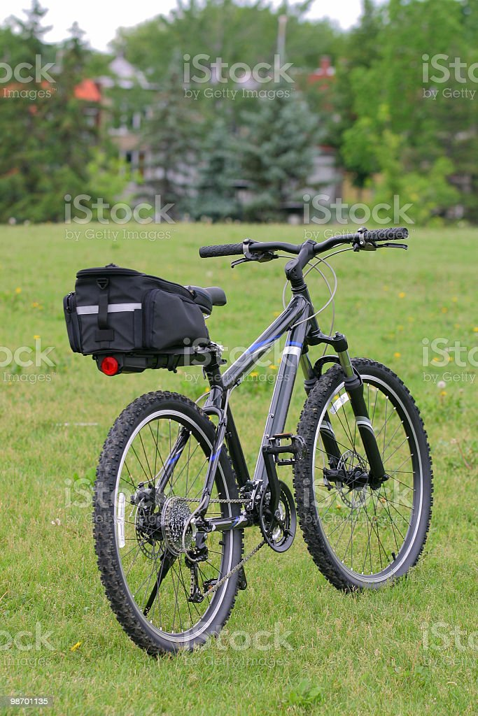 Black Mountain bicycle with bag royalty-free stock photo