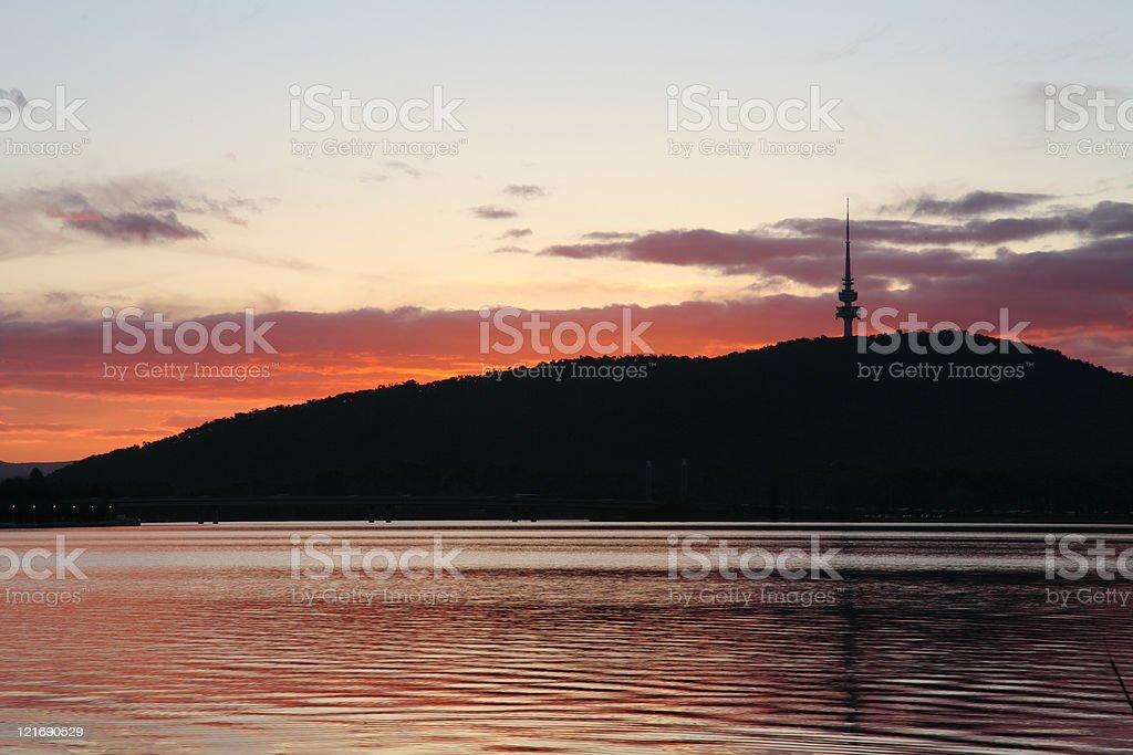 Black Mountain, Lake Burley Griffin, Canberra stock photo