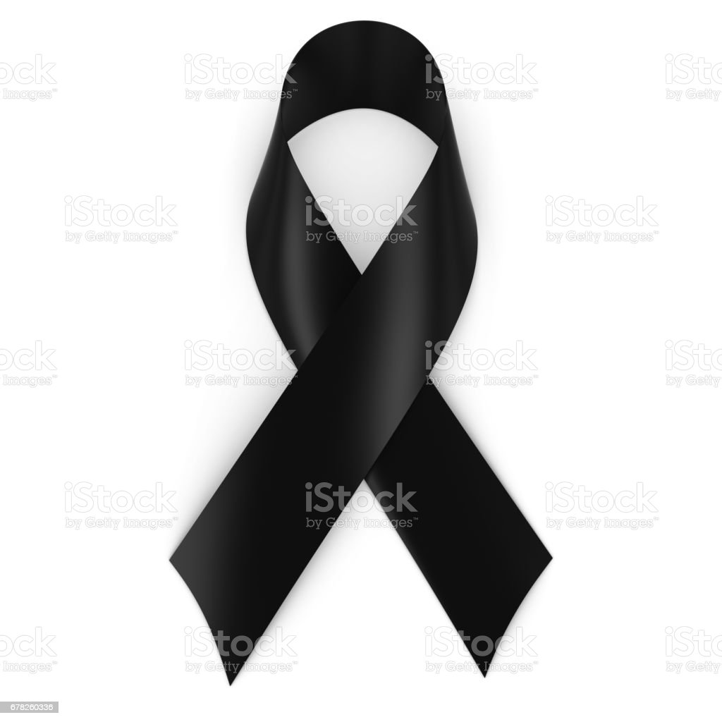 Black Mourning Ribbon isolated on white with shadows stock photo