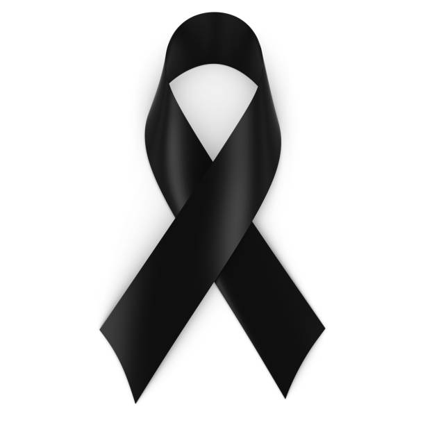 Black Mourning Ribbon isolated on white with shadows Black Mourning Ribbon isolated on white with shadows mourning stock pictures, royalty-free photos & images