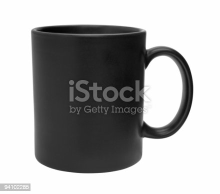 Black mug empty blank for coffee or tea isolated on white background with clipping path.