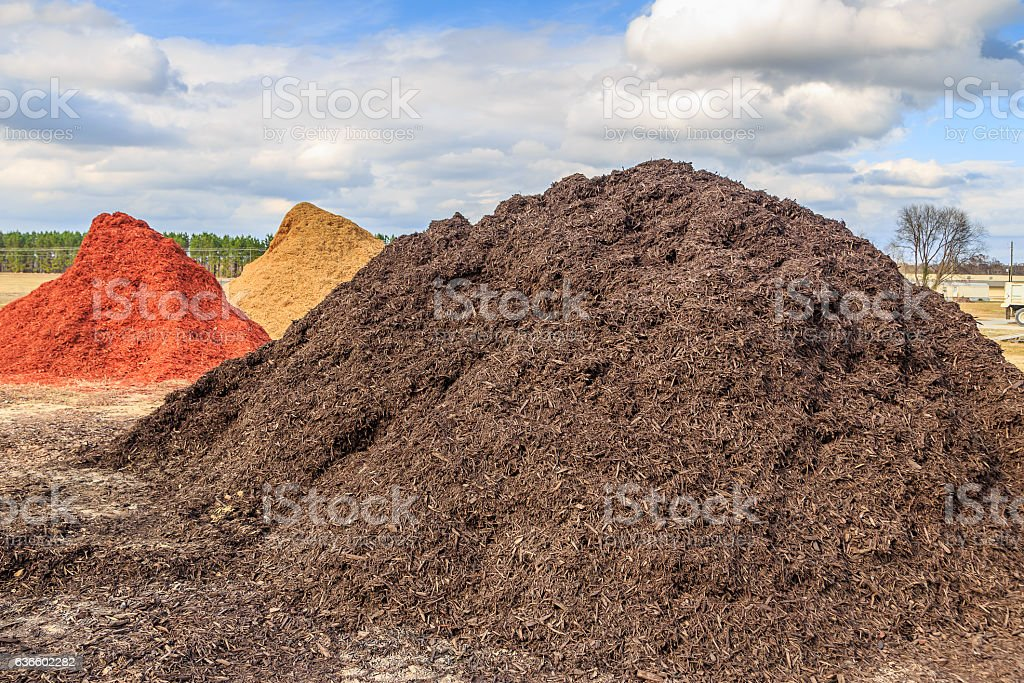 Black Mulch or Wood Chip Mound stock photo