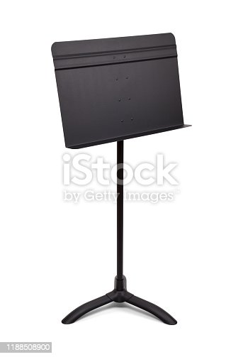Black Music Stand Angle View Isoated on White Background.