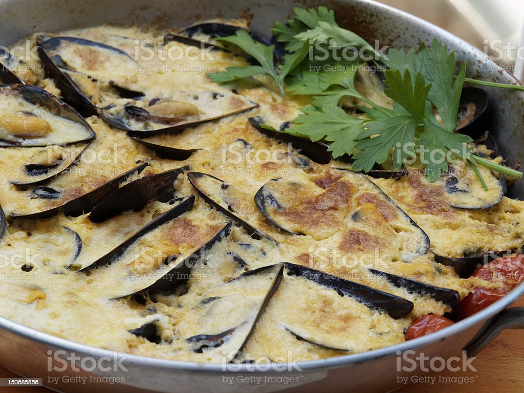 Black Mussels Preparation stuffed with egg royalty-free stock photo