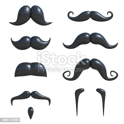 istock Black mustache 3d set isolated illustration 893747656