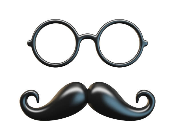 Black mustache and circular glasses 3D Black mustache and circular glasses 3D rendering illustration isolated on white background mask disguise stock pictures, royalty-free photos & images