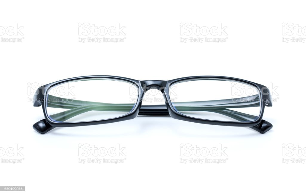 Black myopia glasses isolated on white background stock photo