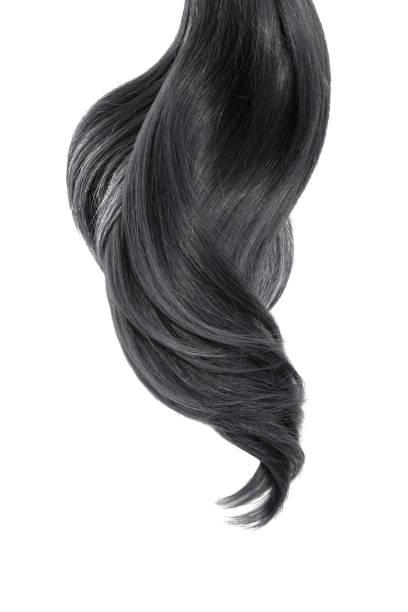 schwarzes naturhaar auf weißem hintergrund - haarverlängerung stock-fotos und bilder