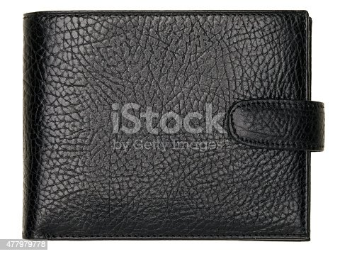 istock Black natural leather wallet isolated on white background 477979778