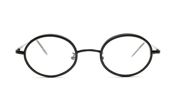 black nerd glasses isolated on white stock photo