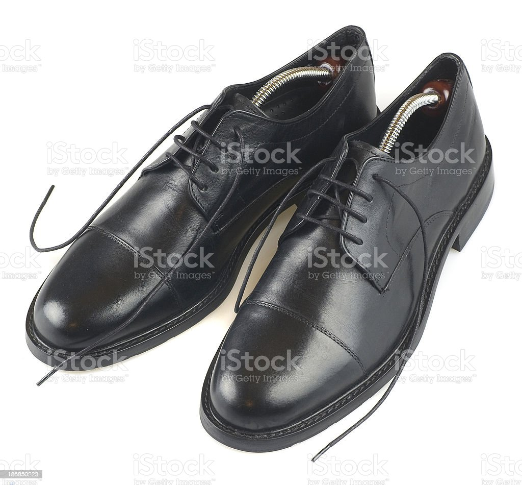 black new shiny business shoes isolated on white royalty-free stock photo