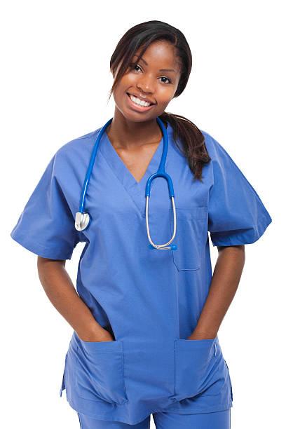 Enfermera aislado negro - foto de stock
