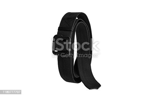 Black nylon fastening belt, strap isolated on white background.