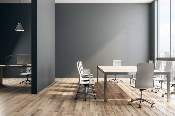 Black office interior Black concrete office interior with panoramic New York city view and daylight. 3D Rendering board room stock pictures, royalty-free photos & images