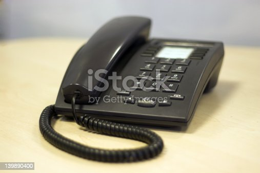 A Modern Sleek Office phone in Black