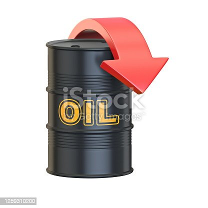 Black oil barrel with red arrow 3D render illustration isolated on white background