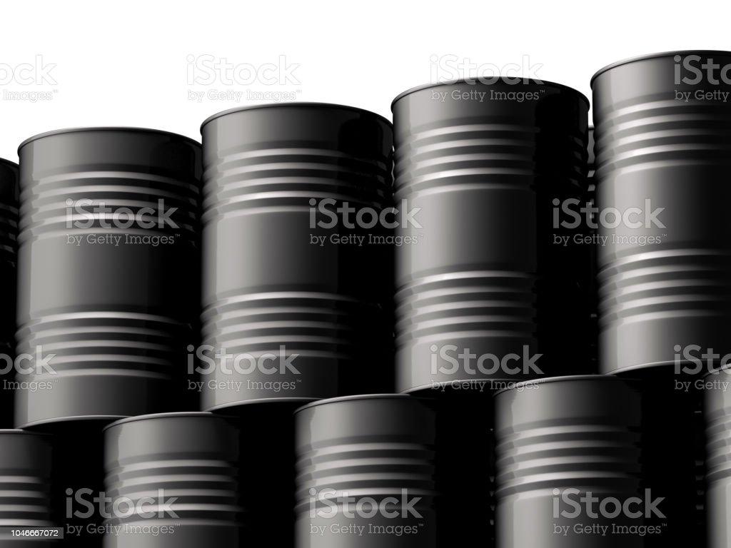 Black Oil Barrels Mockups on white background stock photo