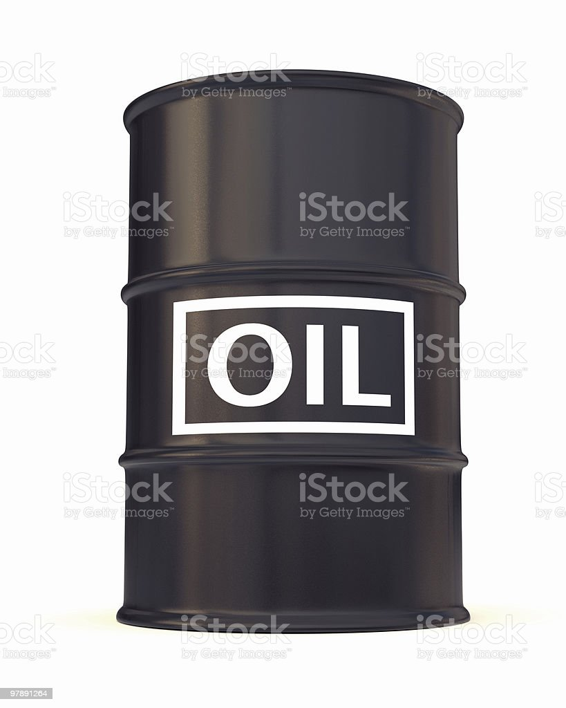Black oil drum labeled with big white letters royalty-free stock photo