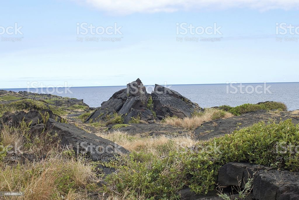 black old lava flows on the southern tip of Hawaii stock photo