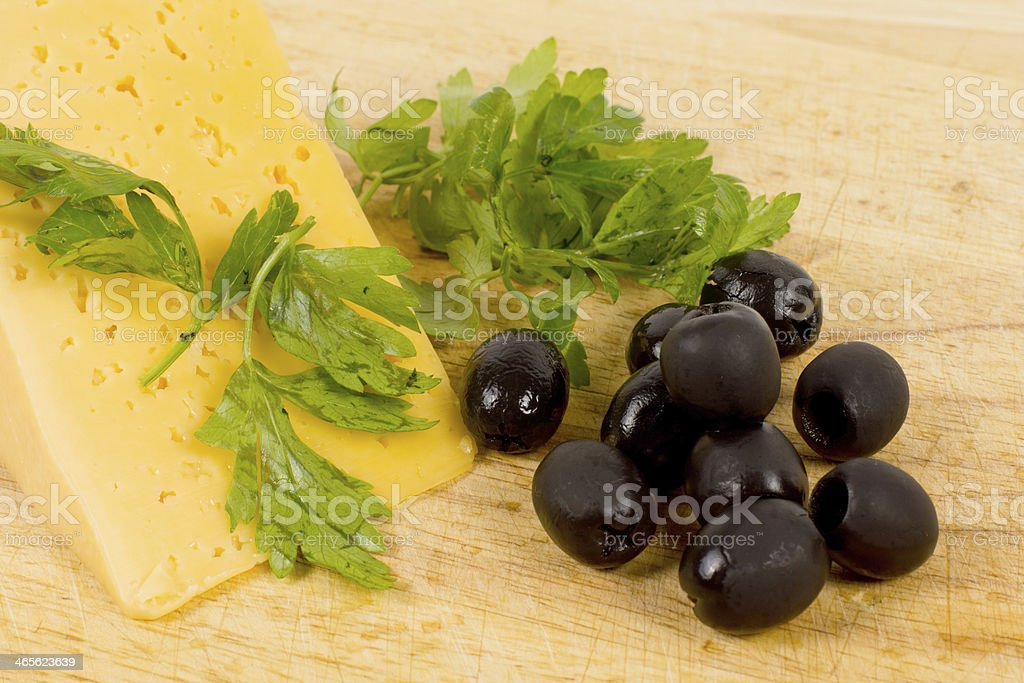 Black olives and cheese royalty-free stock photo