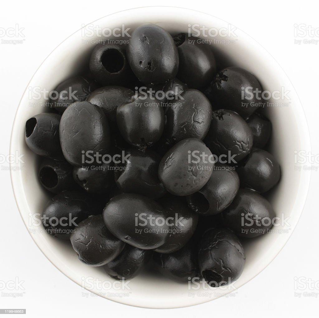 Black Olives in bowl stock photo