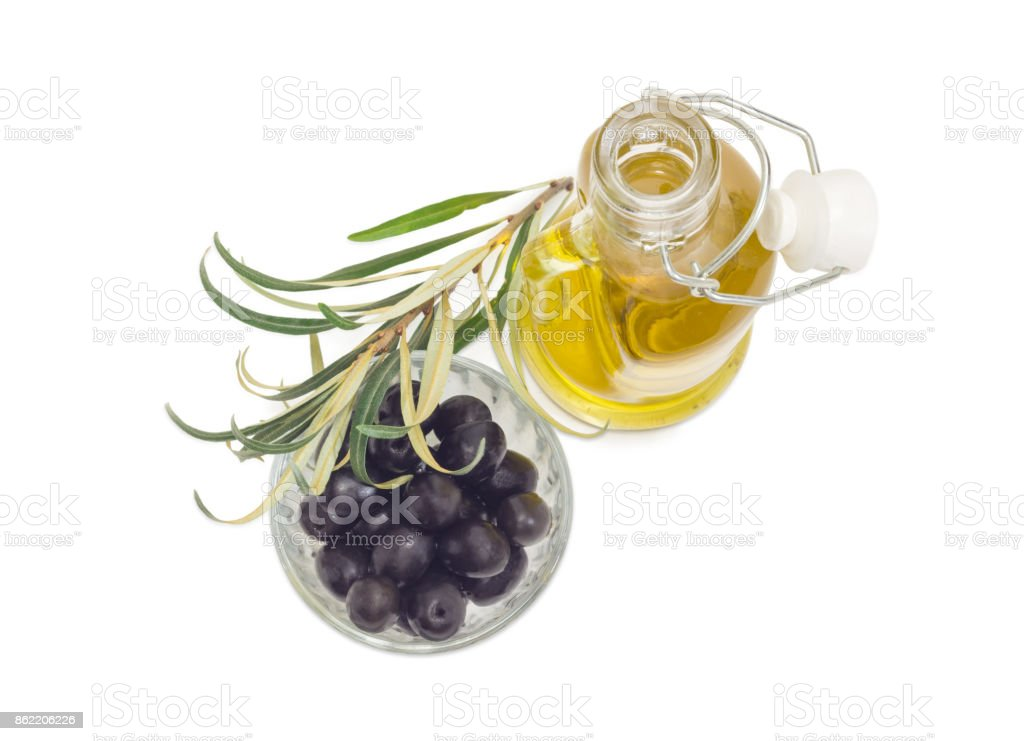 Black olives, olive oil and olive branch stock photo