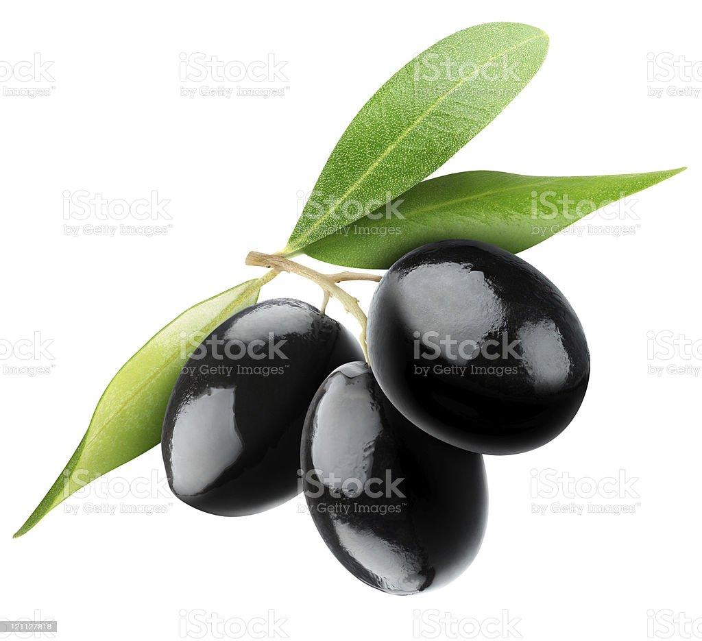 Black olives on white background stock photo