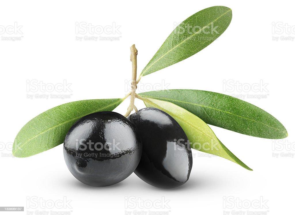 Black olives on white background foto