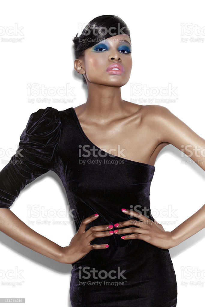 Black one shoulder dress on skinny model woman stock photo