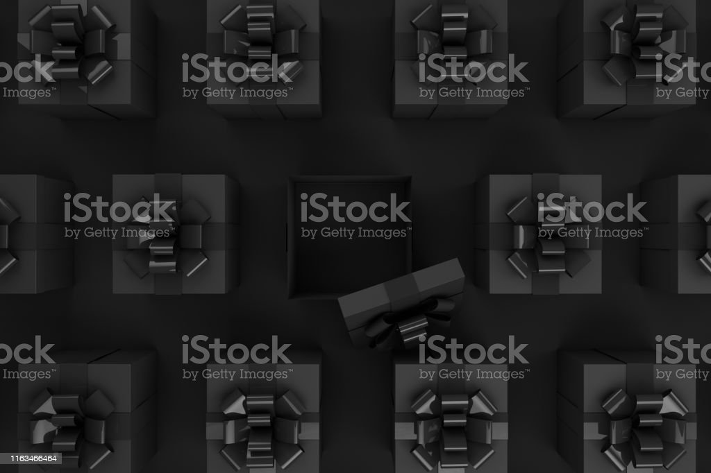 3d rendering of Open Gift Box. Minimal Black Friday, Christmas, Party...