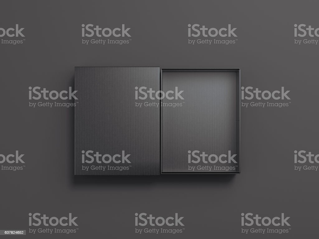 Black opened cardboard package. 3d rendering stock photo