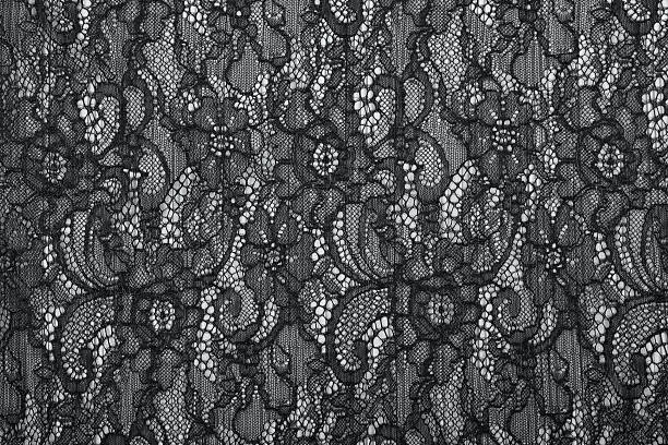 Black openwork lace background texture Black openwork lace background texture. Black guipure. Black fabric with ornament. Background from black lace with pattern with form flower lace textile stock pictures, royalty-free photos & images