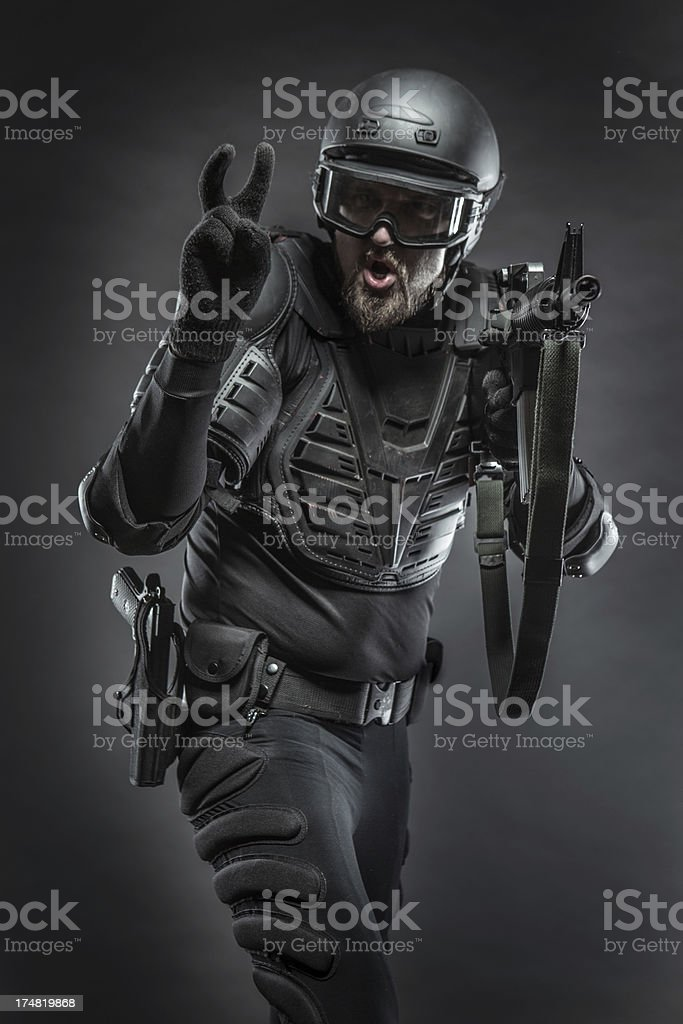 Black Ops Soldier Armed and Ready royalty-free stock photo