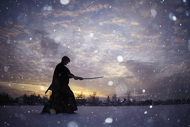 negros oriental artes marciales warrior invierno de capacitación - ninja fotografías e imágenes de stock