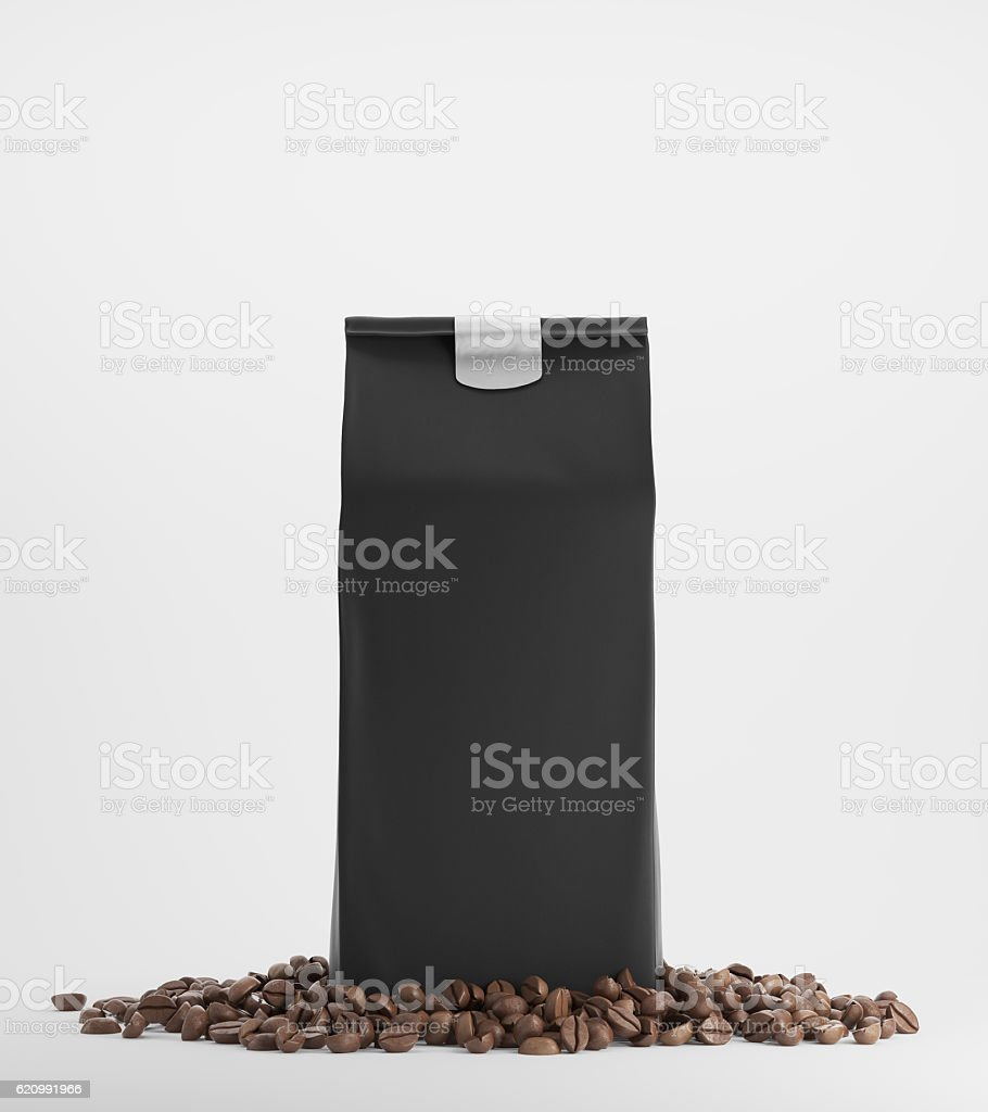 Black pack of coffee against white background stock photo