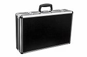 Black padded aluminum briefcase case with metal corners isolated on white background