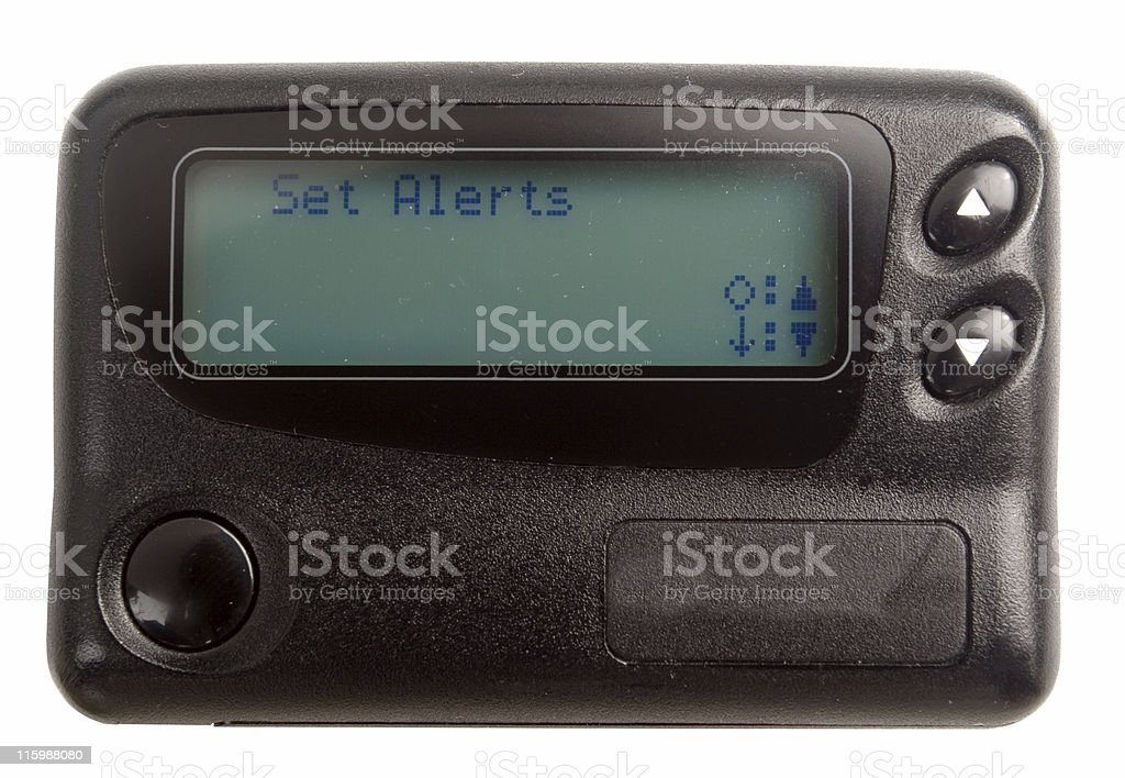 Black Pager isolated on white Pager with LCD display Black Color Stock Photo