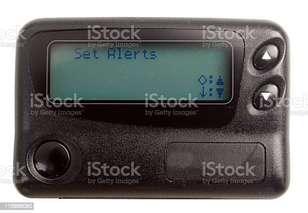 Black Pager Isolated On White Stock Photo - Download Image Now