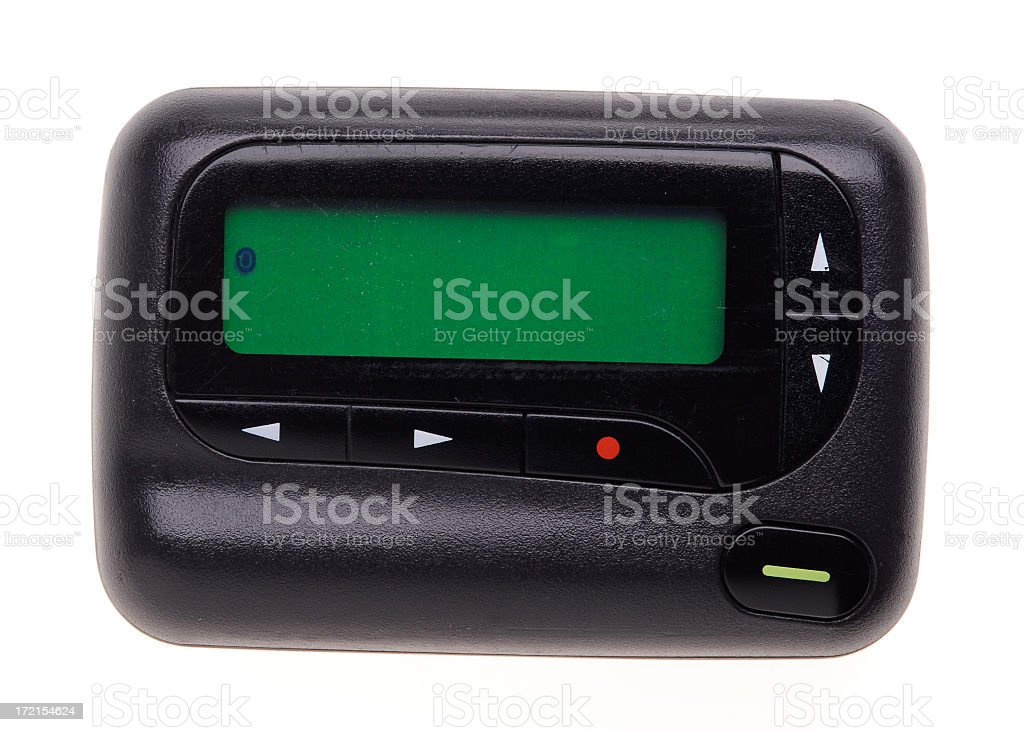 A black pager with green screen stock photo