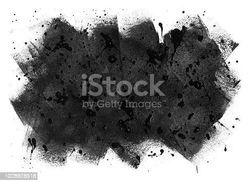 istock Black paint stain on white paper background made by paint roller and brush - splashed surface gives vivid and energetic multi layered artistic work with a unique design 1028928518