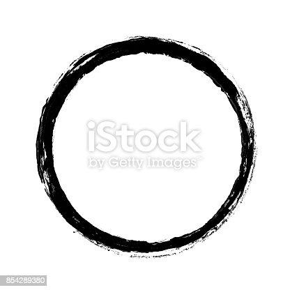 Black Paint with brush stroke isolated on white background