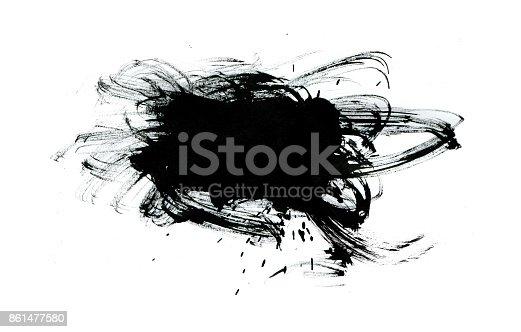 istock Black paint with brush stroke isolated on white background 861477580